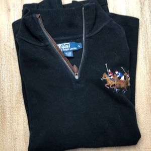 Men's polo half zip cotton sweater size L